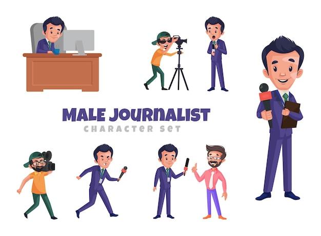 男性ジャーナリストのキャラクターセットの漫画イラスト