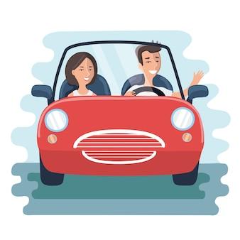 道路上の赤い車の中で男性と女性の漫画イラスト