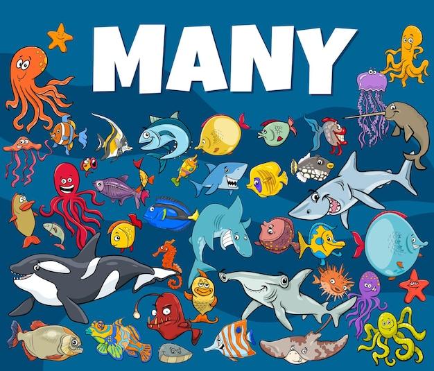 많은 물고기와 바다 생활 동물 캐릭터 그룹의 만화 그림