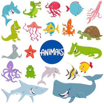 海洋動物のキャラクターセットの漫画イラスト