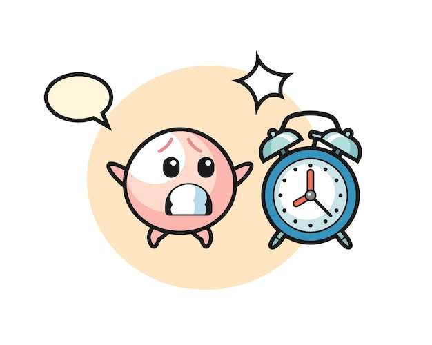 肉まんじゅうの漫画イラストは、巨大な目覚まし時計、tシャツ、ステッカー、ロゴ要素のかわいいスタイルのデザインに驚いています