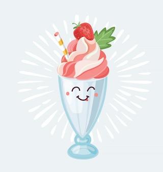 밀크 쉐이크 문자 아이콘의 만화 그림입니다. 웃는 행복 한 얼굴. 흰색 배경에 개체 +
