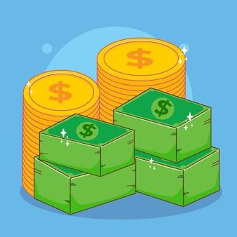 Мультфильм иллюстрации денег и монет