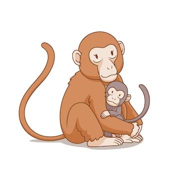 Иллюстрация шаржа обезьяны матери обнимает обезьяну младенца.