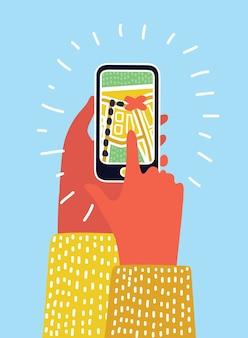 スマートフォンのナビゲーションマップの漫画イラスト
