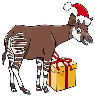 크리스마스 시간에 현재 오카피 동물의 만화 그림