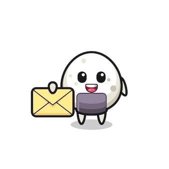 노란색 문자를 들고 있는 주먹밥의 만화 그림, 티셔츠, 스티커, 로고 요소를 위한 귀여운 스타일 디자인