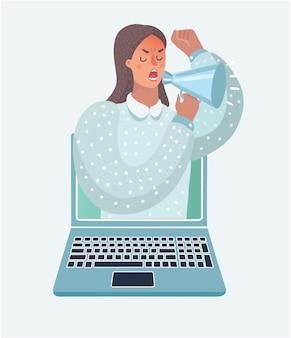 オンライン広告の概念の漫画イラスト