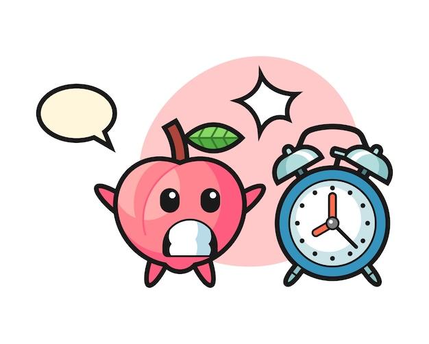 복숭아의 만화 그림은 거대한 알람 시계, 티셔츠의 귀여운 스타일 디자인에 놀랐습니다.
