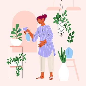 Карикатура иллюстрации людей, заботящихся о растениях