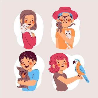 애완 동물을 가진 사람들의 만화 그림