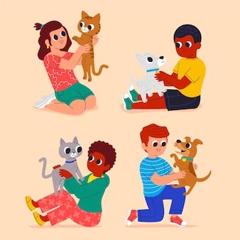 ペットを持つ人々の漫画イラスト