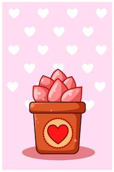 발렌타인 데이에 분홍색 관상용 식물의 만화 그림