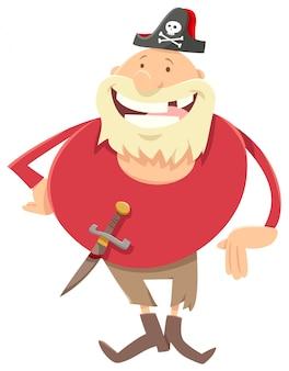 Иллюстрации шаржа персонажа пиратской фантазии