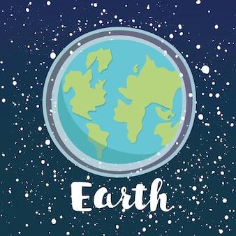 宇宙の光沢のある星の背景に惑星地球アイコンの漫画イラスト
