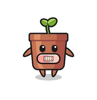 입에 테이프가 있는 식물 냄비의 만화 그림, 티셔츠, 스티커, 로고 요소를 위한 귀여운 스타일 디자인