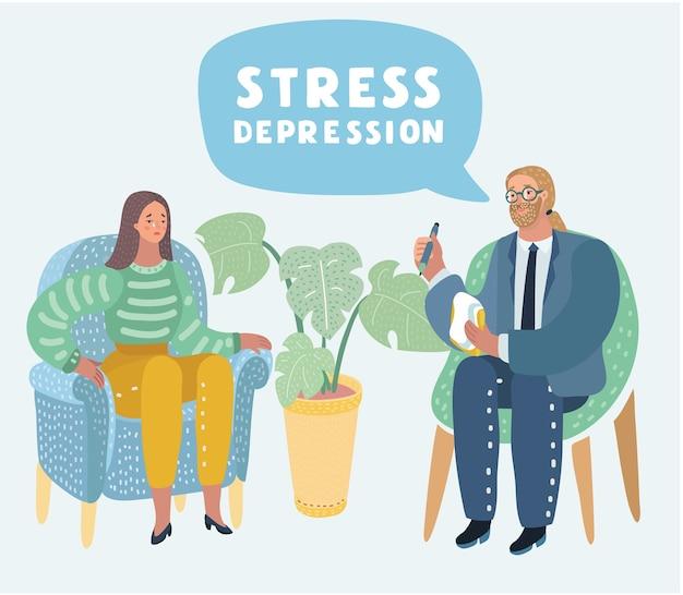 心理療法の漫画イラスト。うつ病の女性と、絡み合った、または絡み合っていない脳の比喩、社会精神医学の概念、社会精神医学の概念を持つ男性心理学者。