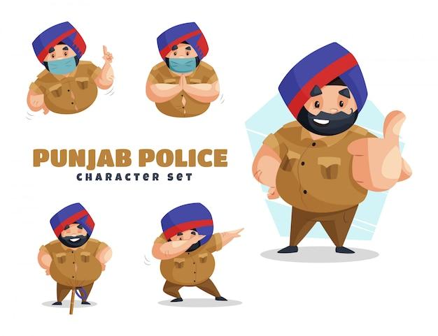 パンジャブ警察の文字セットの漫画イラスト