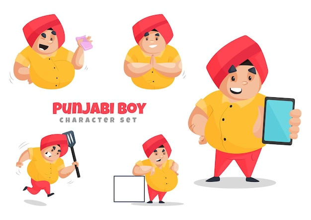 Иллюстрации шаржа набора символов мальчика пенджаби