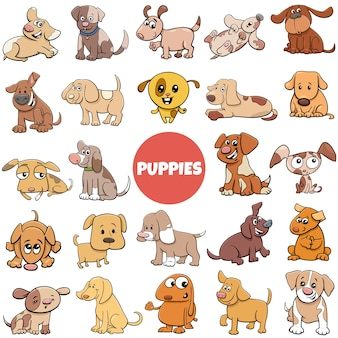 강아지 만화 동물 캐릭터 큰 세트의 만화 그림