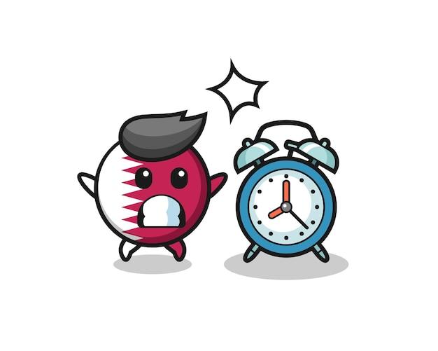 카타르 국기 배지의 만화 그림은 거대한 알람 시계, 티셔츠, 스티커, 로고 요소를 위한 귀여운 스타일 디자인으로 놀라움을 금치 못합니다.