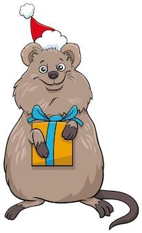 크리스마스 시간에 선물이 있는 쿼카 동물 캐릭터의 만화 그림