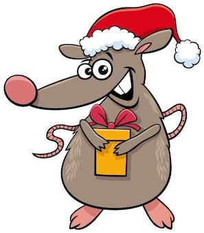 크리스마스 시간에 현재 쥐 동물 캐릭터의 만화 그림