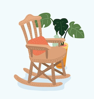 Карикатура иллюстрации кресло-качалка
