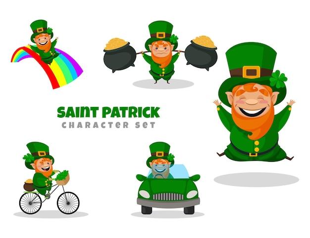 聖パトリックのキャラクターセットの漫画イラスト