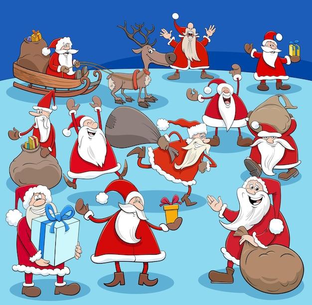크리스마스 시간에 산타 클로스 만화 캐릭터 그룹의 만화 그림
