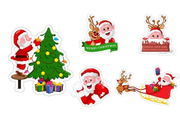 산타 클로스 스티커 세트의 만화 그림