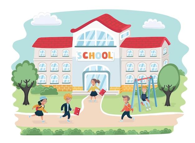 Карикатура иллюстрации школы с детьми, идущими в школу в спешке