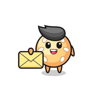 Карикатура иллюстрации шара кунжута, держащего желтое письмо, милый стиль дизайна для футболки, наклейки, элемента логотипа