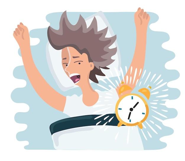 Карикатура иллюстрации проспала женщина проснулась