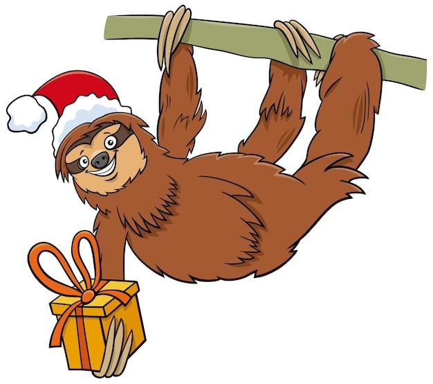 크리스마스 시간에 현재 나태 동물 캐릭터의 만화 그림