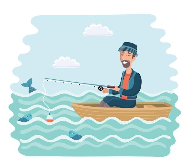 Иллюстрации шаржа улыбающегося человека, ловящего рыбу на лодке.