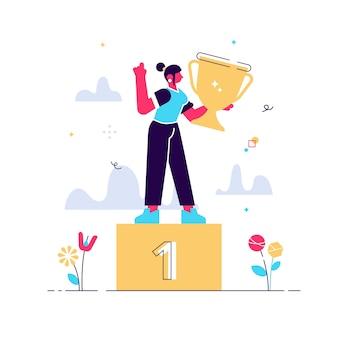表彰台に立っている成功の女性キャラクターの漫画イラスト