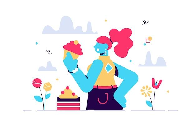 ケーキを食べる甘い歯の女性の漫画イラスト。お菓子やバカリーの生産を貪欲に食い尽くす女性。モダンなスタイルの女性の面白いキャラクター。