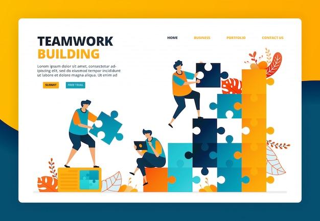 会社の業績向上におけるチームワークとコラボレーションの漫画イラスト。従業員を育成するための計画と戦略
