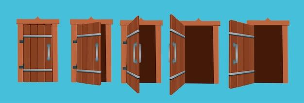開いたドアと閉じたドアの漫画イラスト。