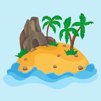 Карикатура иллюстрации небольшого тропического острова в океане.