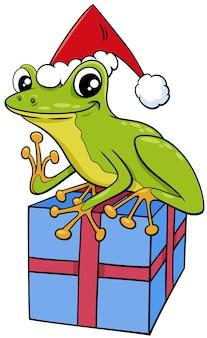 Иллюстрации шаржа животного персонажа древесной лягушки с подарком на рождество