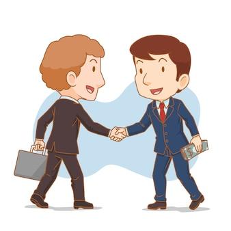 握手の2人のビジネスマンの漫画イラスト。ビジネスパートナー。