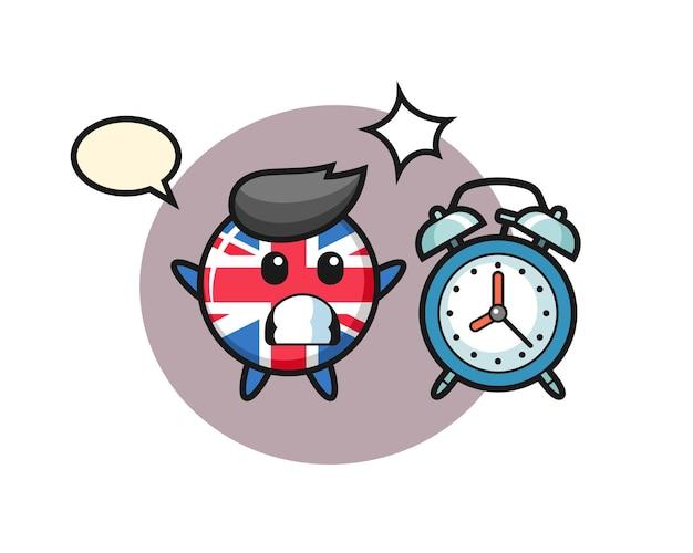 イギリスの国旗バッジの漫画イラストは巨大な目覚まし時計に驚いています