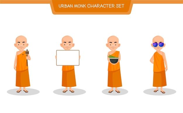 Иллюстрации шаржа городского монаха набора символов Premium векторы