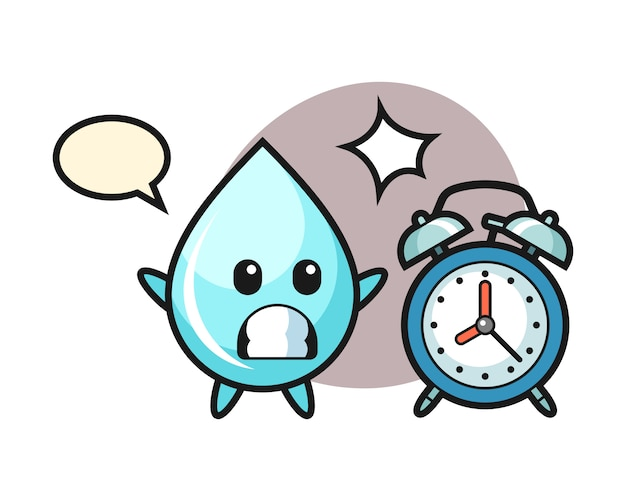 Карикатура иллюстрации капли воды удивляет гигантским будильником, симпатичным дизайном в стиле футболки