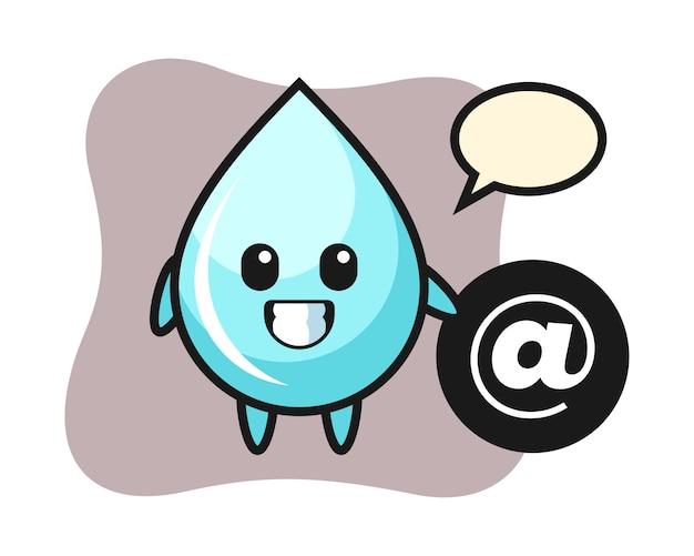 Иллюстрация шаржа падения воды стоя около символа at, милого дизайна стиля для футболки