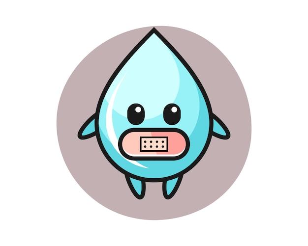 Иллюстрация шаржа падения воды с лентой на рте, милый дизайн стиля для футболки