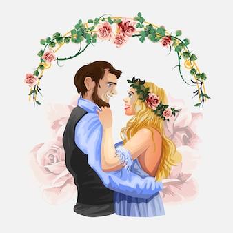 結婚式の漫画イラスト。ブライダルセレモニー、ハンサムな新郎とモダンなスタイルのかわいい花嫁。孤立した白い背景の文字。