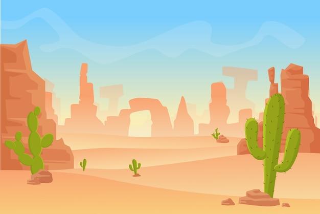 テキサス西部またはメキシコの砂漠のシルエットの漫画イラスト。山と乾燥した砂漠のサボテンの野生の西アメリカ西部のシーン。